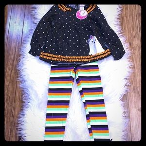 Adorable Ghost Tunic with Striped Leggings Set